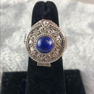 Sterling Silver Cobalt Poison Ring